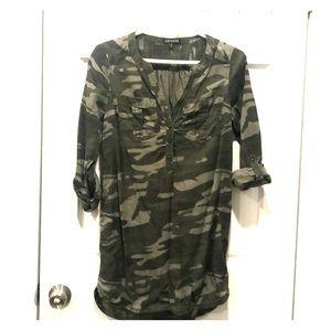 Army print mini dress